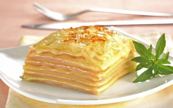 lasaña de jamón y queso
