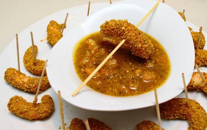 Langostinos con salsa de pistachos