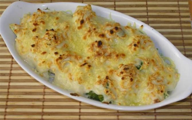 Gratinado de brócoli y champiñones