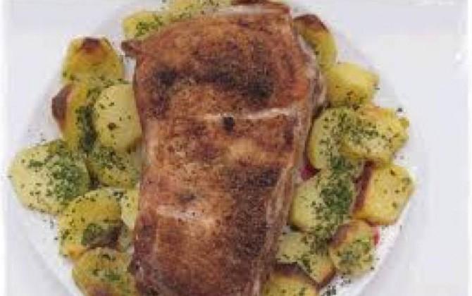 costillar de cerdo asado con patatas al microondas
