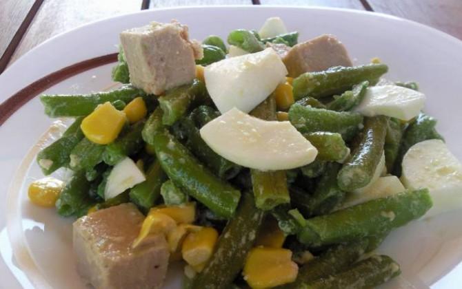 ensalada de judías verdes con atún