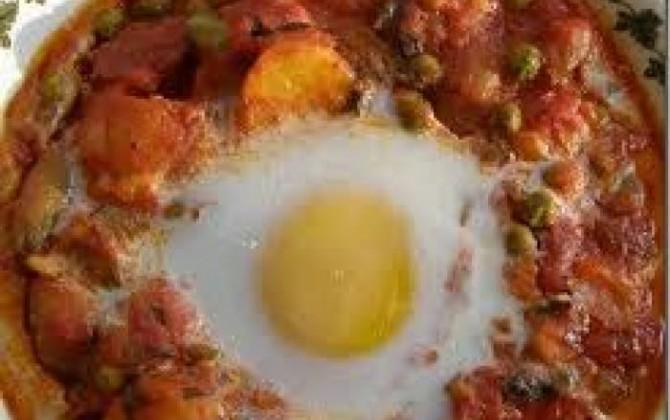 huevos al plato con patatas y bechamel