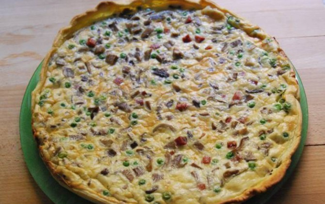 quiche de setas y bacon
