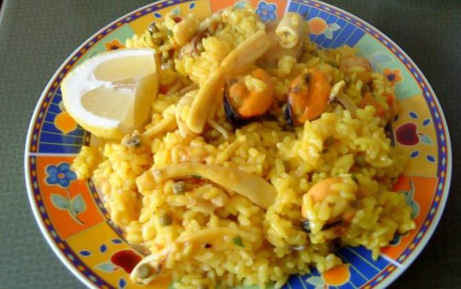 arroz con pollo y mejillones para chao