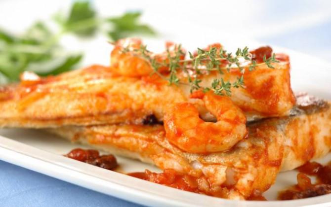 Lomos de pescado con salsa de langostinos y mostaza