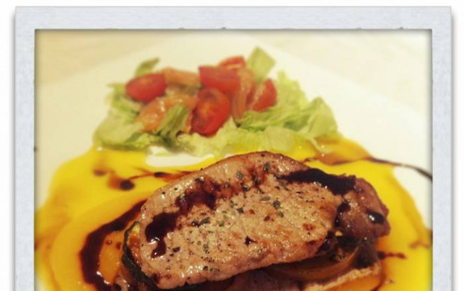 lomo  de cerdo en salsa de módena