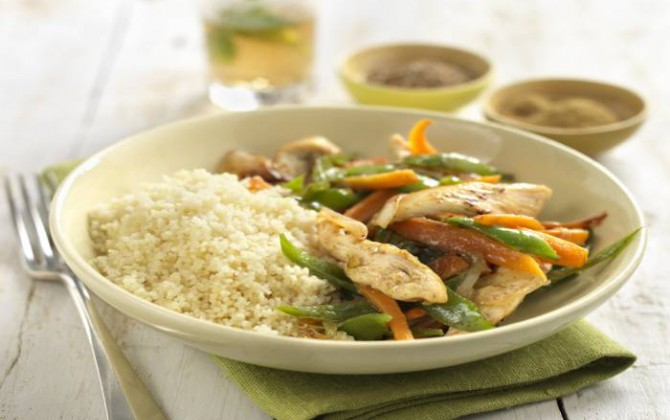 Cuscús rápido de pollo y verduritas