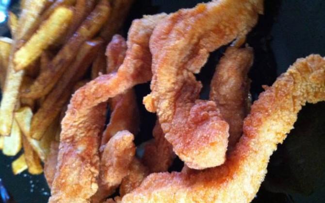 Tiras de pavo frito