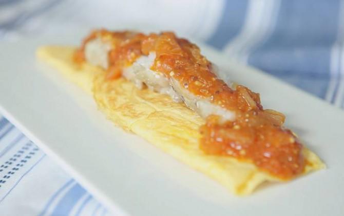 Receta de Tortilla de Bacalao con Tomate