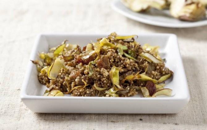 Quinoa con alcachofas y pasas