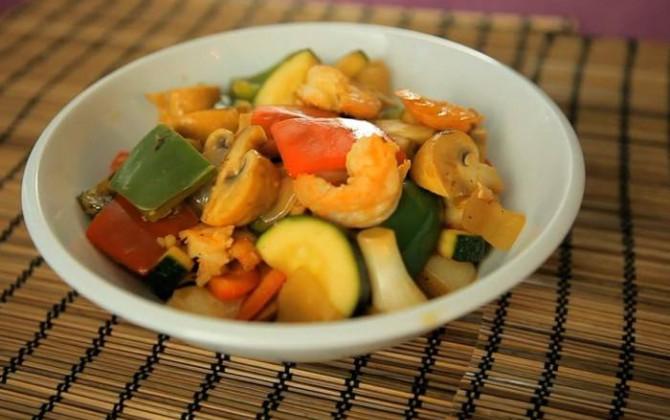 Receta de Wok de verduras y marisco