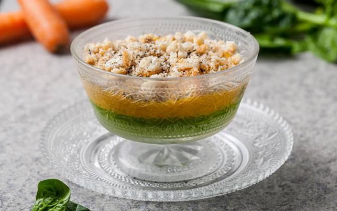 Flan bicolor de zanahoria y espinaca