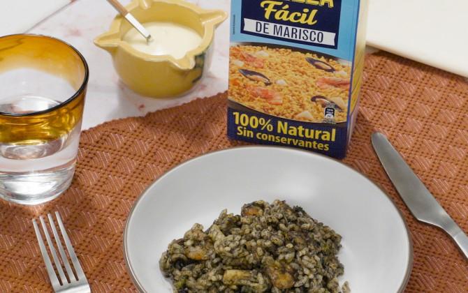 Bodegón arroz con calamares con producto