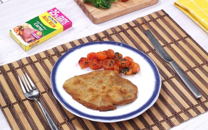 Bodegon con producto filete de ternera a la plancha con verduras