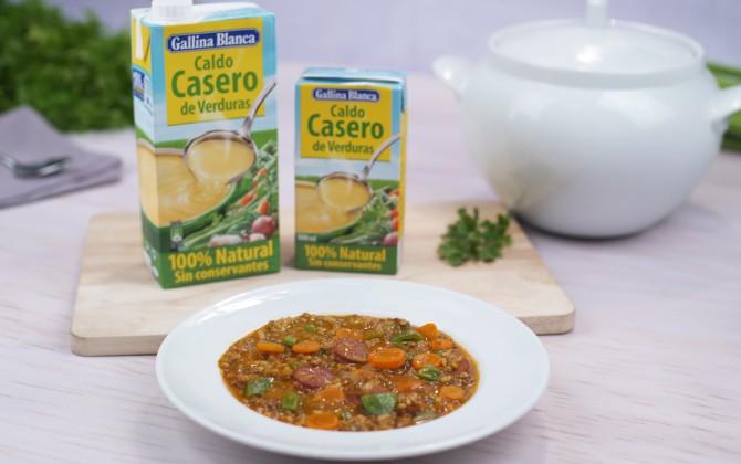 Lentejas con arroz y verduras