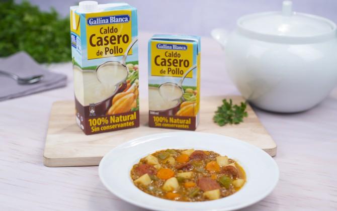 Lentejas con chorizo y patata con producto