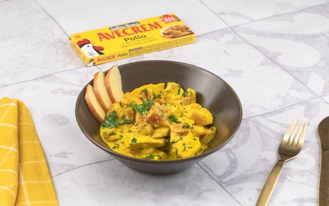 Pollo al curry con manzana con producto