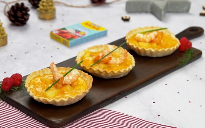 Emplatado con producto tartaletas de merluza y langostinos