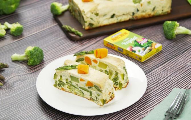 Emplatado con producto pastel de verduras al horno