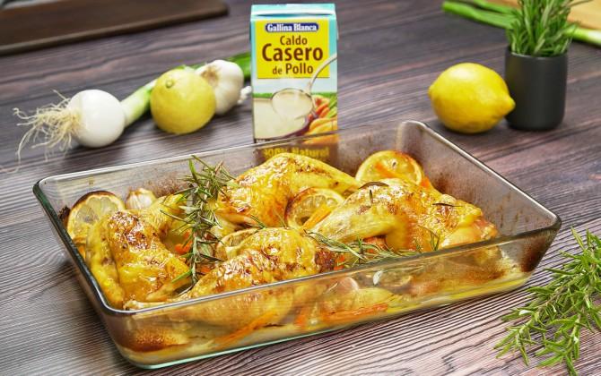 Emplatado con producto pollo al romero y limón
