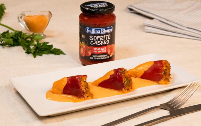 Emplatado con producto pimientos rellenos de atún