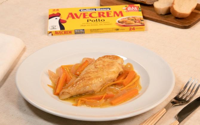 Emplatado con producto pechugas de pollo en escabeche