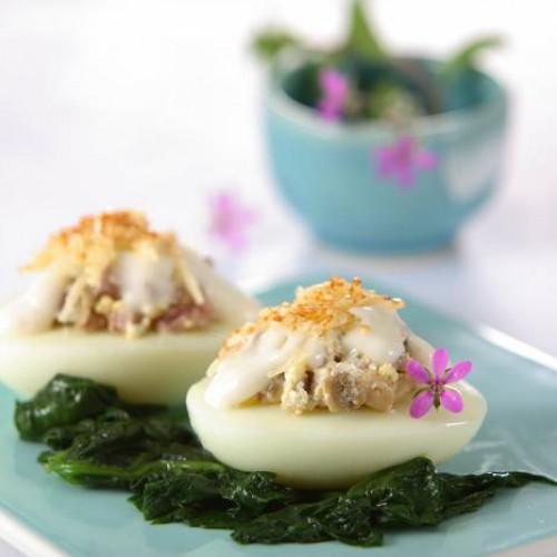 Receta de Huevos Rellenos con Espinacas