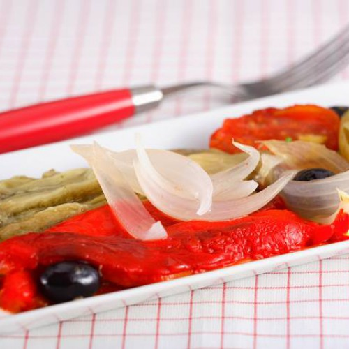 Receta de verduras asadas o escalibadas