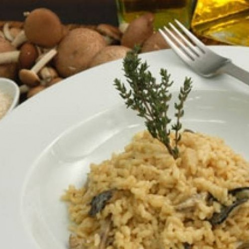 risotto de setas y pollo