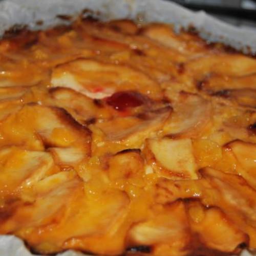 tarta de manzana con  flan