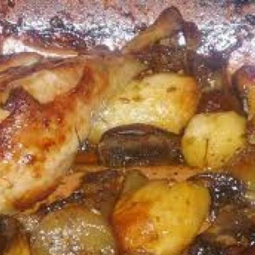 pollo braseado con verduritas caramelizadas