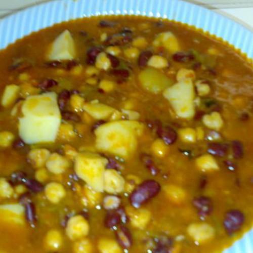 receta de garbanzos con alubias rojas
