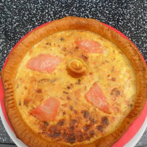 tarta de puerro y salmón