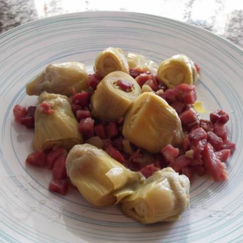 corazones de alcachofas rehogadas con jamón para susi1972