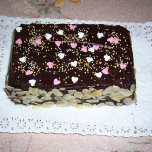 tartita rápida de chocolate con barquillos de nata