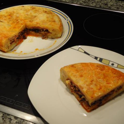 tortilla rellena de picadillo de chorizo