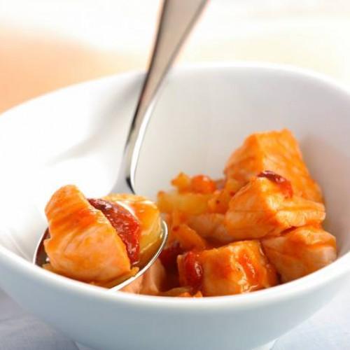 Guiso de salmón, patata y calabaza