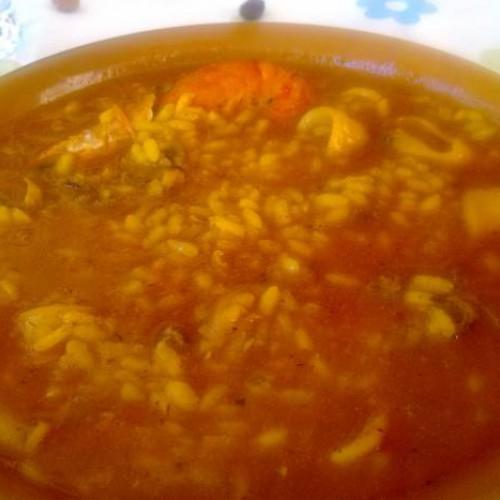 arroz meloso de calamares y gambas