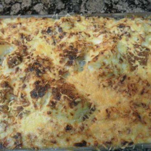 coliflor con bechamel de champiñones y jamón