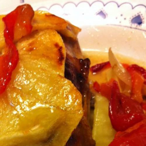 Pollo al horno con pimientos