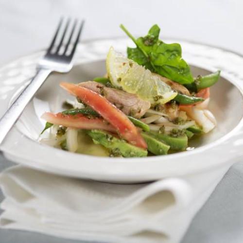 judias verdes con pechuga de pollo ensalada