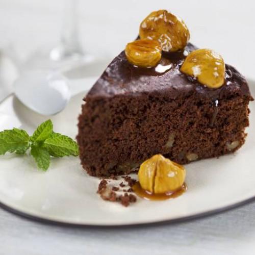 Tarta de chocolate y castañas