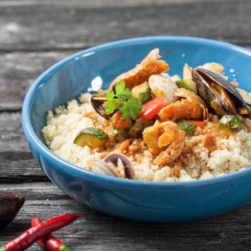 Cuscús con marisco y verduras