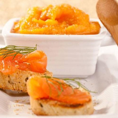 Crema de zanahorias y salmón