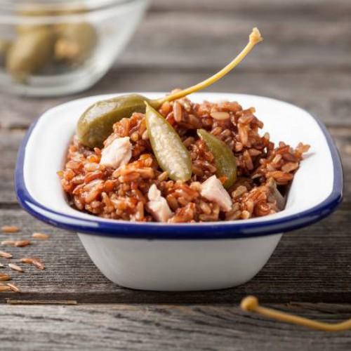Ensalada de arroz y alcaparras