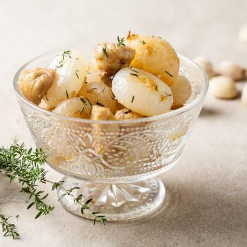 Cebollas con castañas y romero