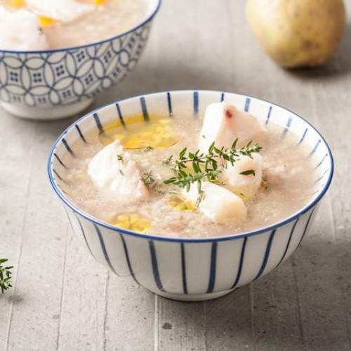 Sopa de trigo y merluza sin gluten