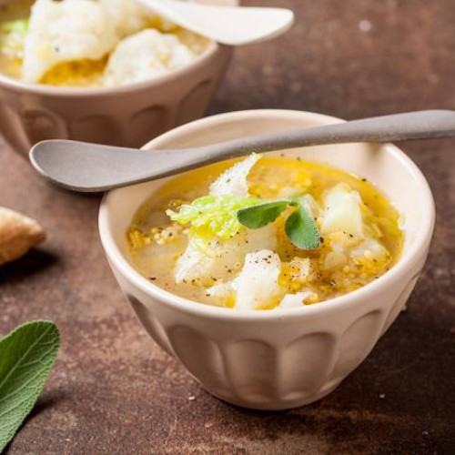 Sopa de coliflor y mijo