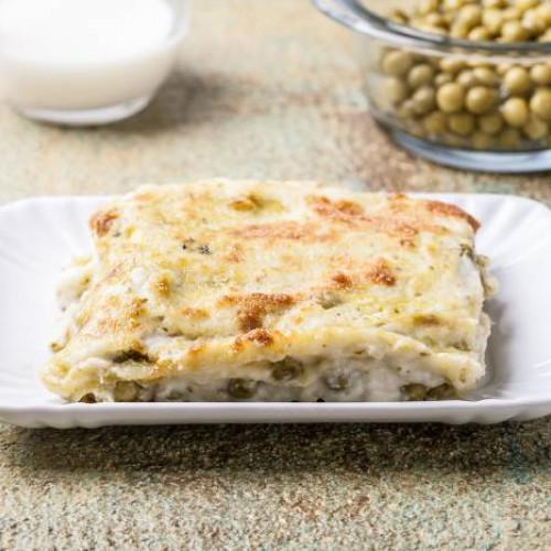Lasaña de guisantes con queso