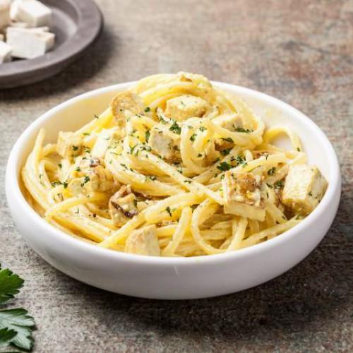 Espaguetis a la carbonara vegetal